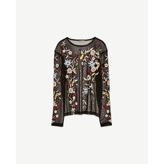 EMBROIDERED TULLE T - SHIRT-NEW IN-WOMAN-COLLECTION SS/17 | ZARA... (£20) ❤ liked on Polyvore featuring tops, t-shirts, white t shirt, tulle top, embroidery t shirts, embroidery top and embroidered top