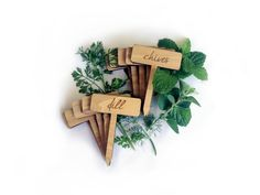 Herb Garden Plant Markers / Custom Wood Engraved Set