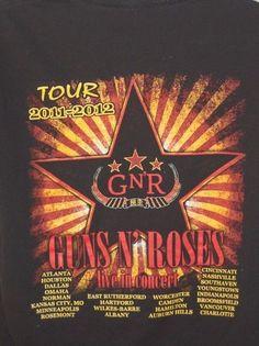 Guns n Roses Concert Tee T-Shirt Black 2011-2012 US Tour Sz L Large #Notag #GraphicTee