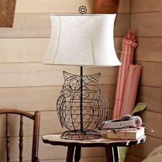 Owl Lamp Base + Shade | PBteen - I want this on the bookcase in the living room!