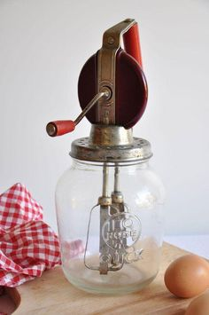 "1940s Mixer / Egg Beater - jar signed ""Rose Quick"""