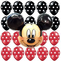 Birthday Party Decorations Mickey Mouse Red Black Polka dots Giant Foil balloons #Anagram #BirthdayChild