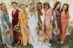 Boho mismatched bridesmaid dresses #wedding #weddings #bridesmaiddresses #bohoweddings #bohemian #dpf #deerpearlflowers