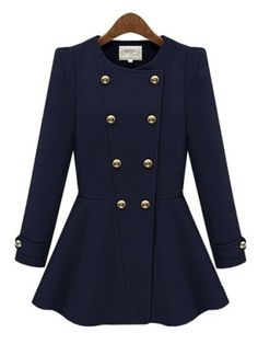 Collarless Double Breasted Plain Woolen Coat