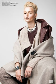 "HUF Magazine Fall Issue editorial ""Hoboho"". Featuring the Leather Cropped T in Barrel, Alpaloop Cocoon Cardi in Oatmeal and the most luxurious hand-made Double Faced Cashmere Cape-Poncho. Winter cannot come fast enough."
