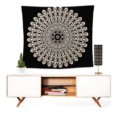 Gorgeous beige Mandala and black tapestry Wall Hanging. Or a festival blanket! Bohemian Tapestry, Mandala Tapestry, Boho Gypsy, Hippie Boho, Wall Tapestry, Trendy Home Decor, Boho Wall Hanging, Hand Weaving, Wall Decor
