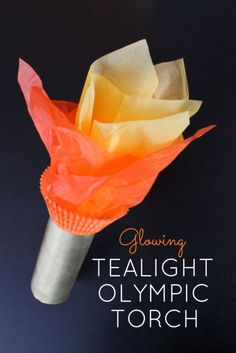 IT LIGHTS UP! Glowing Tealight Olympic Torch Kids Craft for the Summer Olympics and Winter Olympics games - A great toilet paper roll craft for kids to hold during the Olympic Opening Ceremony! | OHMY-CREATIVE.COM
