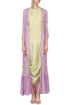 NAUTANKY BY NILESH PARASHAR Olive drape dress with lilac embroidered cape. Shop Now! #nautankybynileshparashkar #floral #cape #indianfashion #indiandesigners #perniaspopupshop #happy-shopping