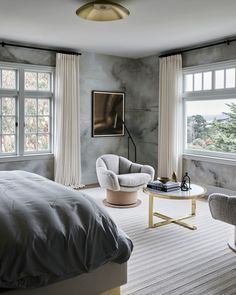Unmatched views call for completely custom window treatments. // Designed by K Interiors // Photo by Douglas Friedman Drapery, Curtains, Custom Drapes, Custom Window Treatments, Bedroom Windows, Interior Photo, Beautiful Bedrooms, Bean Bag Chair, House