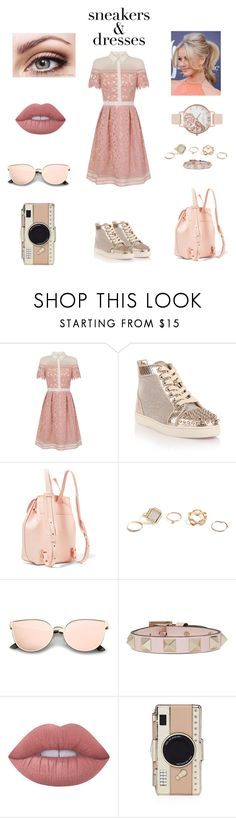 """""""Sneakers and Dresses"""" by duchessofclarence ❤ liked on Polyvore featuring Chi Chi, Christian Louboutin, Mansur Gavriel, GUESS, Valentino, Lime Crime, Kate Spade and Olivia Burton"""