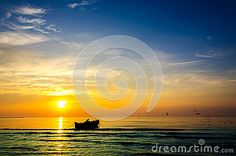 Fishing boat fishermen sunrise beautiful landscape rich colors. People working fishing coastline. Rich Colors, Fishing Boats, Beautiful Landscapes, Sunrise, Stock Photos, People, Outdoor, Image, Landscaping