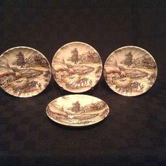 Set Of 4 Yorkshire Ironstone Genuine Hand Engraved Oval Desert Plates