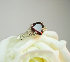 Your place to buy and sell all things handmade Garnet Jewelry, Garnet Rings, Garnet Gemstone, Cute Wedding Ideas, Wedding Inspiration, Wire Jewelry, Jewlery, I Love You Ring, Ring Pictures
