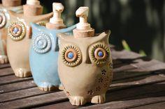 Handmade ceramic owl soap dispenser