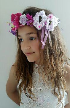 Stunning Flower Crown with  Bow Detail  #handcrafted #handmade #unique #fashionista #flowercrown #headpiece #headwear #creative #bridal #flowergirl #pretty