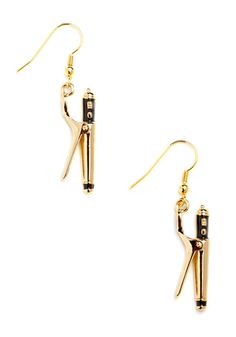 Curly Girl Earrings. Strike while the iron is hot and grab these enchanting earrings while they last! #gold #modcloth