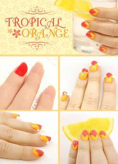 DIY Tropical Orange Nail Tutorial