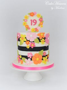 Colourful 19th Birthday Cake by CakeHeaven by Marlene