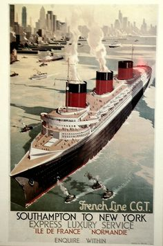 """A dream of giant: the liner """"Normandie"""" in the port of New-York in 1941."""