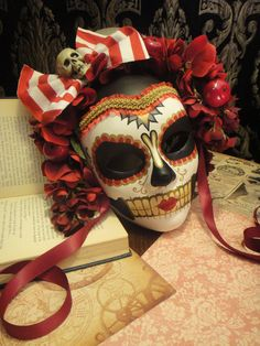 Apple Doll - Day of the Dead Circus Pierrot Mask -  Candyland Peppermint Stripes Red Black Dia de los muertos Calavara Pirate Sugar Skull.
