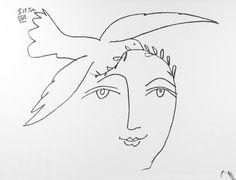 lupitovi:  L'homme en proie à la paix se couronne d'espoir  Dessin Picasso, Texte Paul Eluard - Le visage de la paix