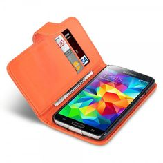 Orange Faux Leather Wallet Case for Samsung Galaxy S5
