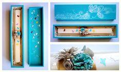 Guarda os teus tesouros! Caixa de madeira ilustrada para vela de baptizado.