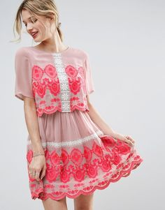 Pretty pink embroidery.