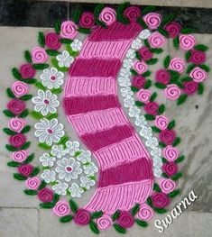 40 Ideas Flowers Design Drawing Pattern Inspiration For 2019 Easy Rangoli Designs Diwali, Simple Rangoli Designs Images, Rangoli Designs Flower, Rangoli Ideas, Beautiful Rangoli Designs, Flower Designs, Flower Garland Wedding, Diy Diwali Decorations, Mahendi Design