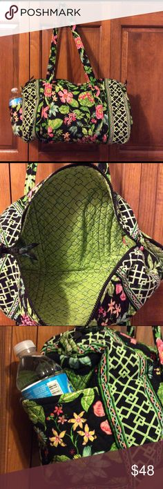 Vera Bradley small duffel bag in Botanica Gently used small duffel in the popular Botanica pattern.  Great size for so many uses ... gym, overnight, carry on, dance class.  Soft bottom that folds flat for easy storage.  Slip pocket outside on one end large enough for bottle water.  No signs of wear on straps or corners.  Smoke free home. Vera Bradley Bags Travel Bags