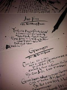 Dave Matthews Band Lyrical Art