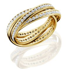 18kt Yellow Gold 2.63cts Diamond Eternity Rolling Bands