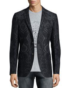 Paisley-Print Two-Button Jacket, Dark Gray