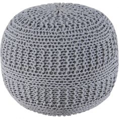 Rizzy Home Gray Knit Pouf | Pure Home