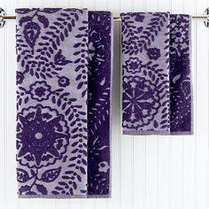 Gorgeous towels...loving the design & colors.  Casbah Sculpted Towels @WorldMarket