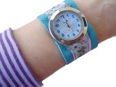 Cool idea for personalized watch-band this would be good with velcro for kids Diy Inspiration, Old Watches, Sewing For Kids, Watch Bands, Bracelet Watch, Gems, Knitting, Bracelets, Accessories