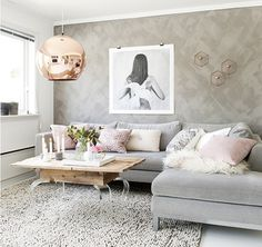 Gray and gold decor grey and gold decor grey and gold living room decor rose gold Living Room Ideas Rose Gold, Blue And Gold Living Room, Boho Living Room, Living Room Grey, Living Room Decor, Living Rooms, Apartment Living, Accent Colors For Gray, Rose Gold Decor