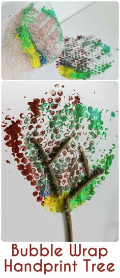 Bubble Wrap Handprint Tree Autumn and Fall Tree craft for kids