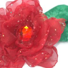 Apple Of Your Eye Sparkly Red Organza Flower by fostersbeauties, $12.00