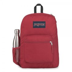 Cross Town Remix is a perfect bag for primary school, but it is also used by many secondary and 3rd level students. It is also used as a day pack and for travelling. The side bottle holder will make all the difference. Handbags For School, Jansport Backpack, School Backpacks, Laptop Sleeves, Vikings, Pouch, Stay Hydrated, Straight Cut, Red