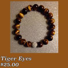 Natural Tiger Eyes Beads w/a Crystal Bead Men Bracelet $25.00