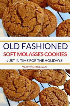 Old Fashioned Soft Molasses Cookies Just like Grandma used to make! These Soft Molasses cookies are spicy and chewy. - Fall baking means cinnamon, cloves and ginger. These Old Fashioned Soft Molasses Cookies are just like Grandma used to make! Chocolate Cookie Recipes, Peanut Butter Cookie Recipe, Easy Cookie Recipes, Baking Recipes, Chocolate Chips, Delicious Cookie Recipes, Cookie Ideas, Sweets Recipes, Baking Ideas