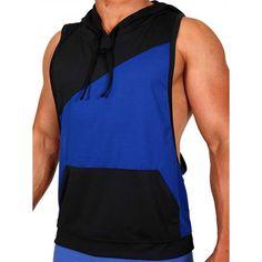 Pistol Pete Flex Hoody T-Shirt - royal/schwarz - Nr. Pistol Pete, Gym Wear, Hoody, Workout Wear, Mens Fitness, Athletic Tank Tops, Stylish, Casual, Mens Tops