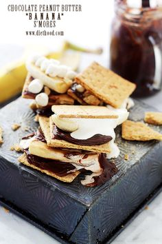 Chocolate Peanut Butter Banana S'mores -- s'mores just got WAY BETTER!