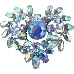 Sherman Blue Borealis Heart Pin Brooch - www.rubylane.com Ruby Lane Vintage Costume Jewelry