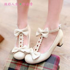 Free shipping Lolita princess shoes double bow round toe thick heel shoes buckle shoes small yards plus size cosplay shoes £18.22