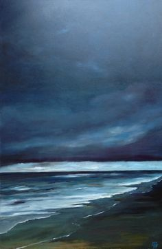 Oil Painting Ocean Evening Beach Romantic by ArtbyMicheleZuzalek, $375.00