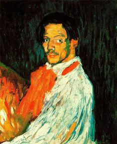 Self-Portrait Pablo Picasso Date: 1901 Style: Expressionism Period: Early Years Genre: self-portrait Media: oil, canvas Dimensions: 60.5 x 73.5 cm Location: Private Collection