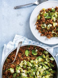 Brussels Sprouts and Lentil Rice. Discover our recipe rated by 2 members. Wheat Free Recipes, Vegetable Recipes, Vegetarian Recipes, Lentil Casserole, Lentils And Rice, Legumes Recipe, Vegetable Puree, How To Cook Rice, Healthy Eating