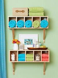 Install shelves and cubby holes onto wall to save space and create an aesthetic -- BHG